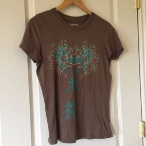 Lucky Tees brown SS t-shirt with Asian graphic M